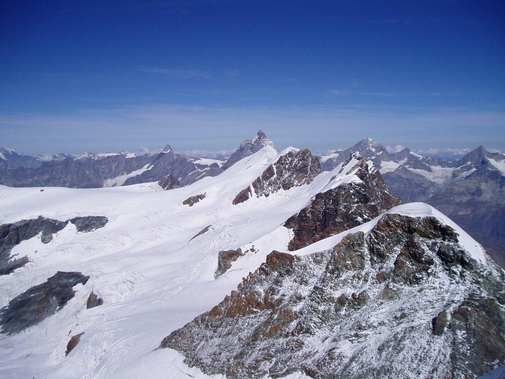 Pollux, Breithornmassief en in de verte de Matterhorn