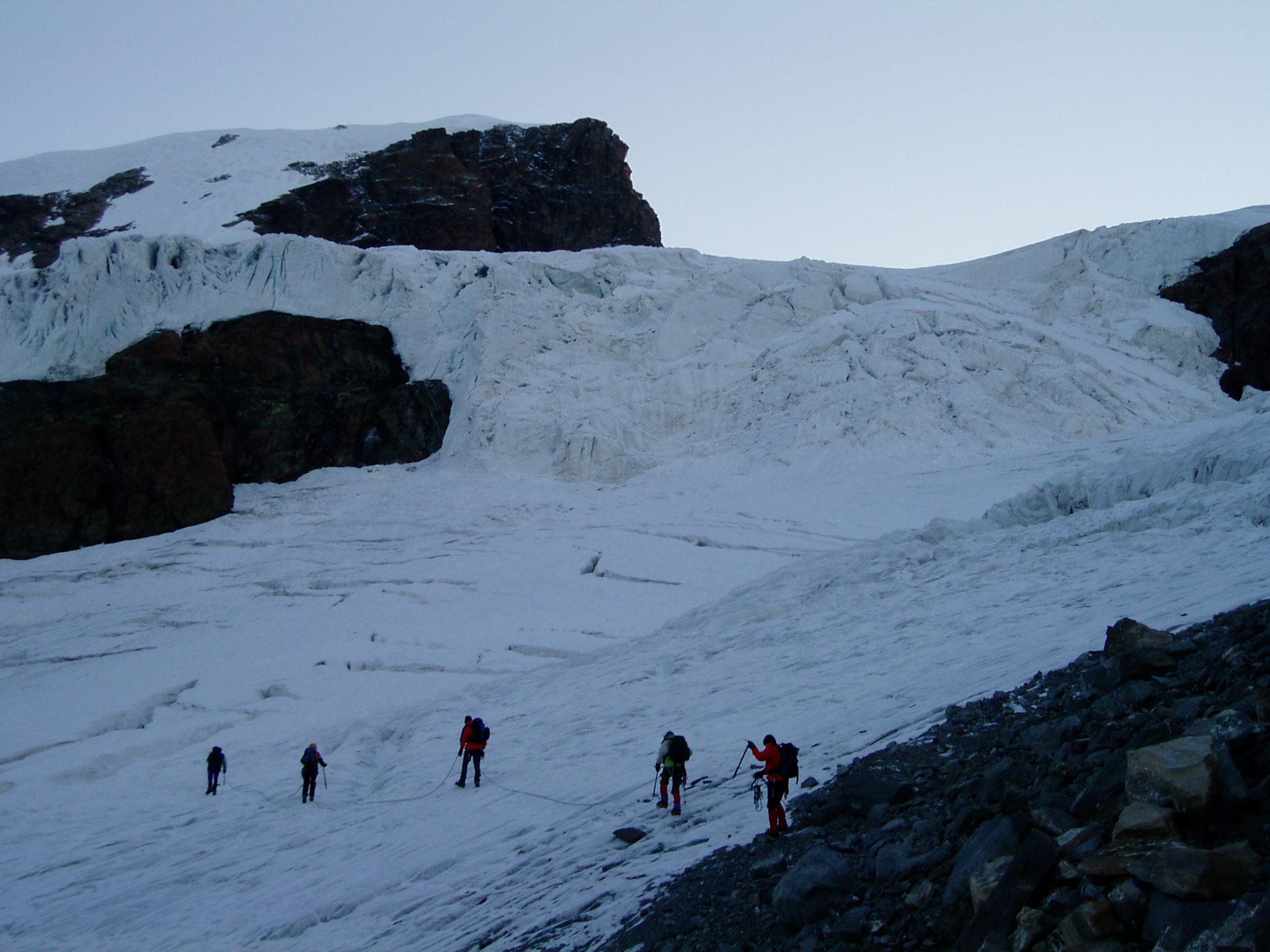 Vroeg de gletsjer op bij de Ayashütte