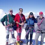 Maarten, Ron, Tineke en Herman op de Breithorn westtop