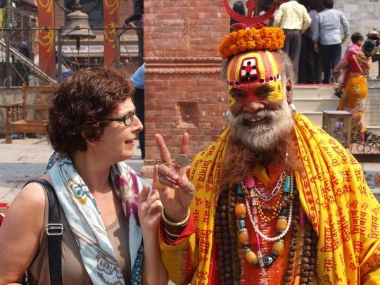 Afien met een sadhu op Durbar square