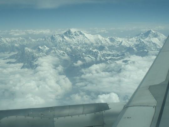 De Mount Everest vanuit het vliegtuig vanuit Tibet