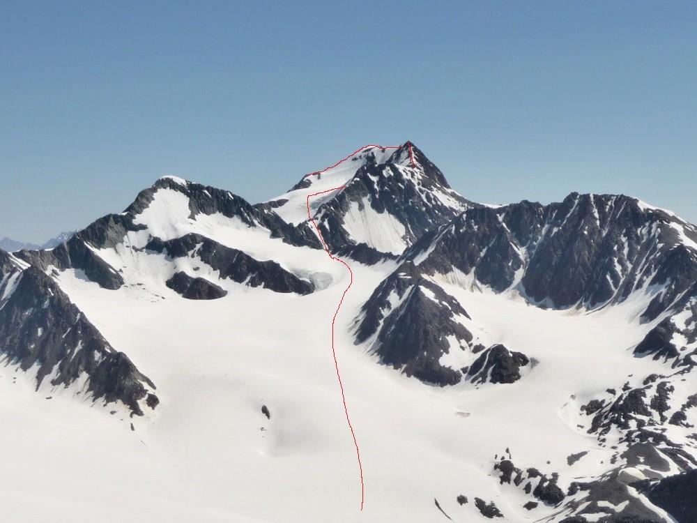 De route naar de top van de Wildspitze.