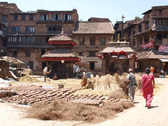 Het pottenbakkersplein in Bhaktapur