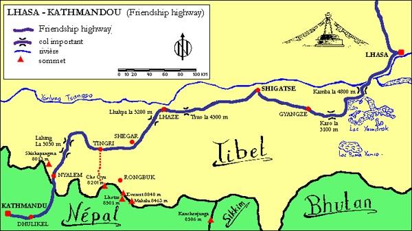 Kaartje met de route die wij volgende over de Friendship highway
