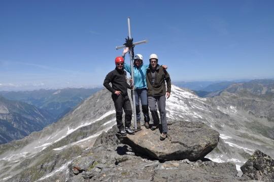 Maarten, Tineke & Herman op de top van de Hintere Stangenspitze