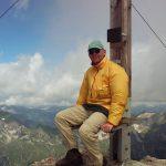 Maarten op de top van de Biberkopf