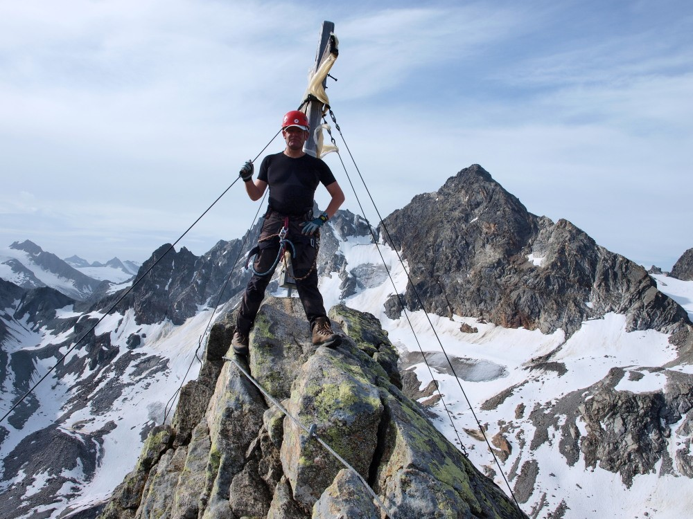 Maarten op de top van de Klein Litzner