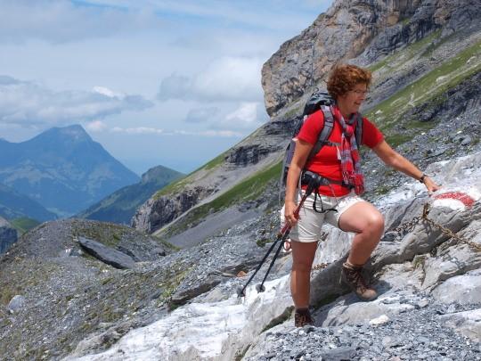 Over het morénepad naar de Gspaltenhornhütte