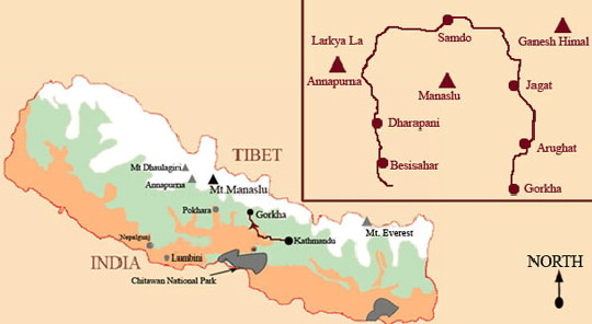 Route van de Manaslu trekking