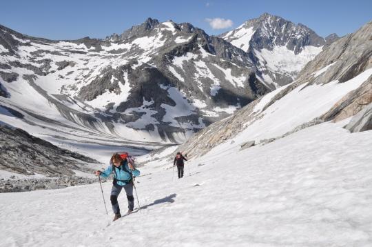 Tineke en Maarten op weg naar de Wolbachspitze