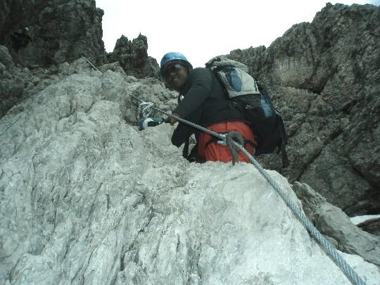 Tony in de Mindelheimer klettersteig