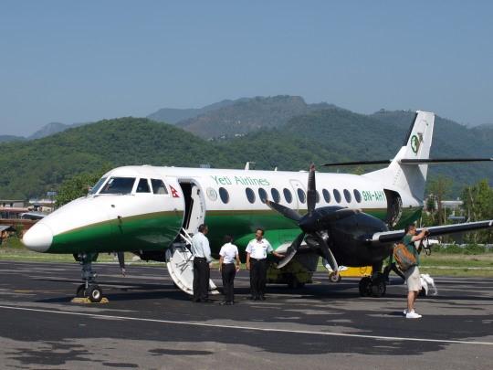 Vliegtuigje van Yeti Air in Pokhara