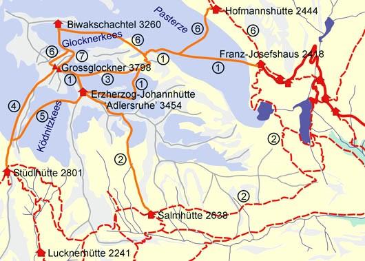 De kaart gaat het om de route 4 (Stüdlgrat, 1 afdaling naar de Erz. Johannhütte en 5 de afdaling terug naar de Stüdlhütte. Op de kaart is de route 2 de klassieke normaal weg, die in 1799 en 1800 door de expedities onder leiding van Von Salm-Reifferscheid en Von Hohenwart werd gevolgd
