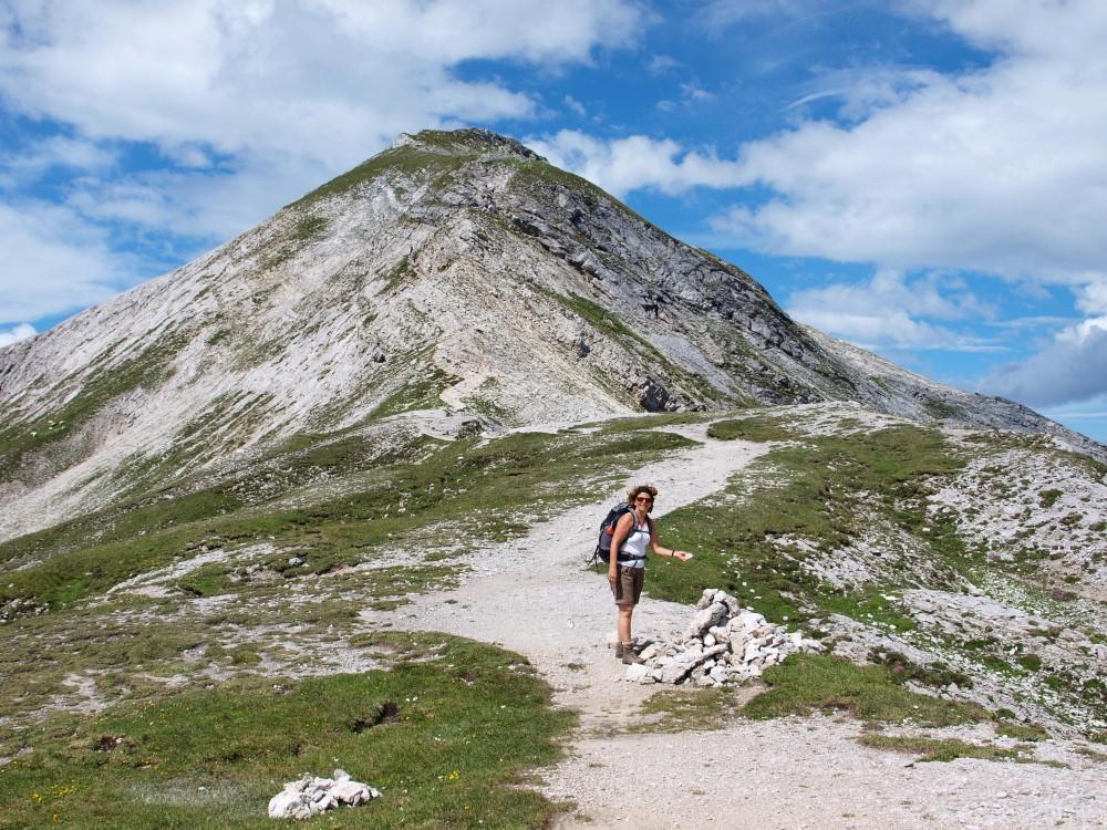 Afien langs de makkelijke afdaling van de Steirische Kalkspitze