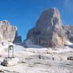 Uitzicht van rifugio Alimonta met de Sfulmini gletsjer naar de Centrale